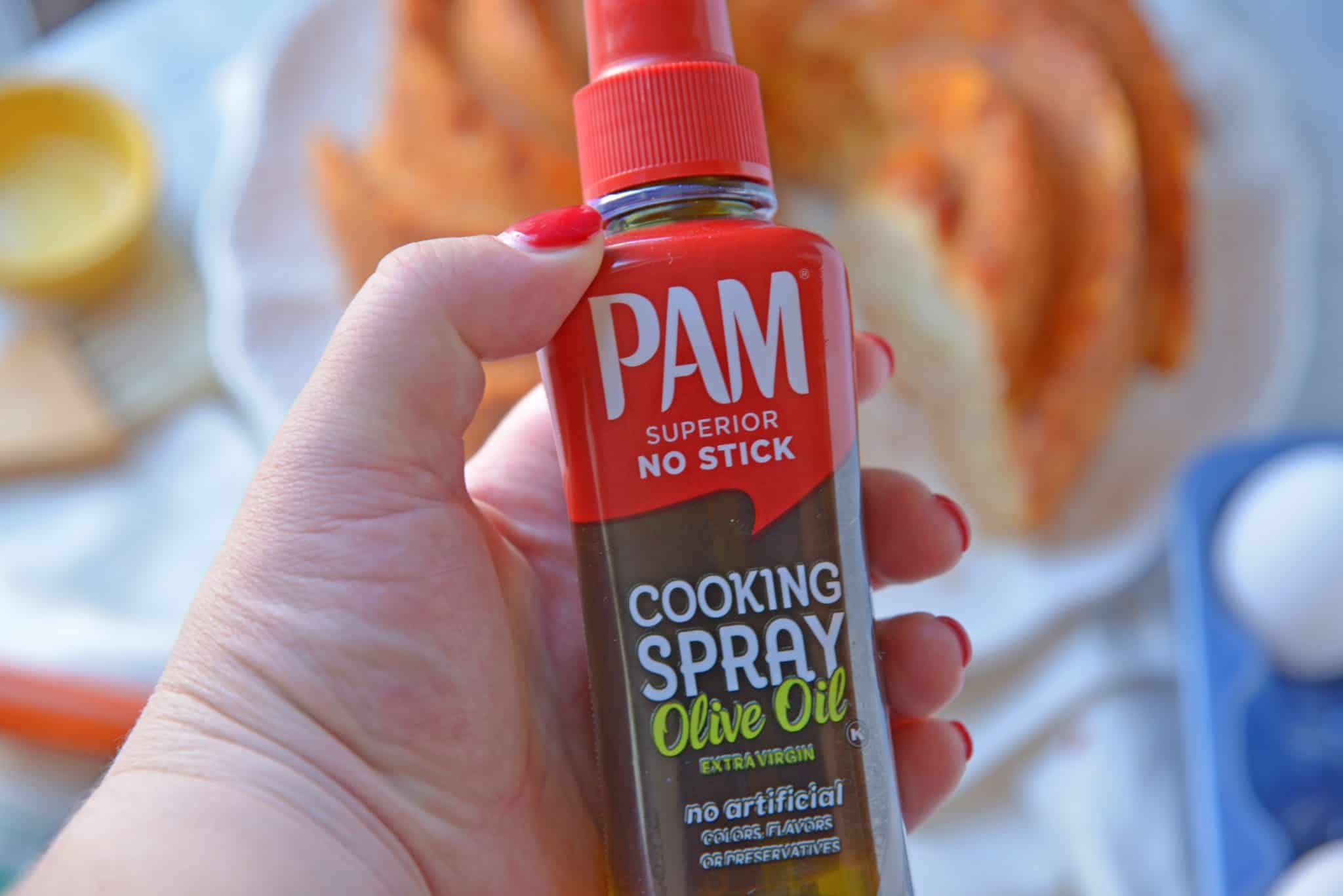 A close up of a bottle of PAM
