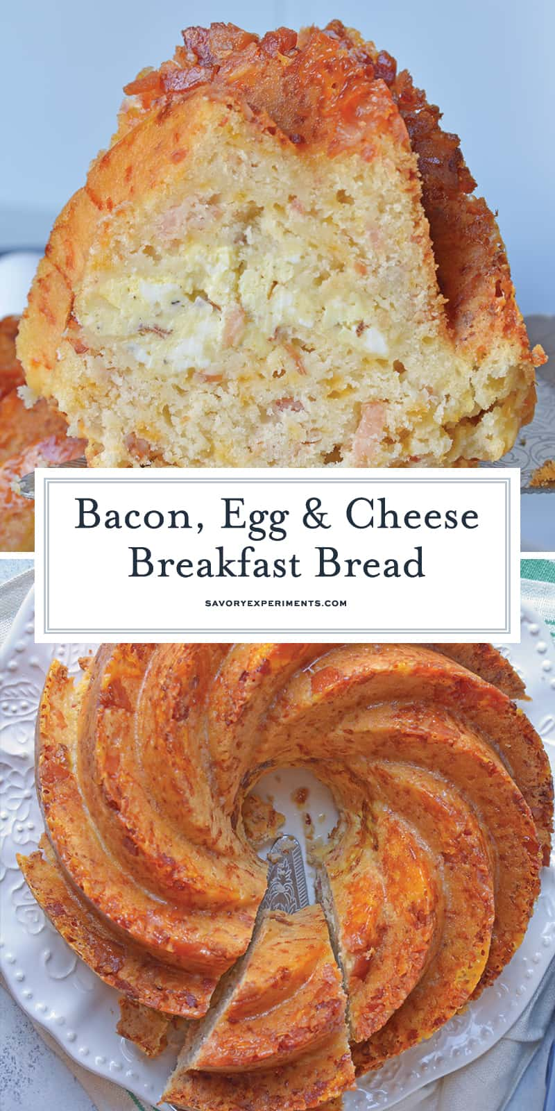 Bacon, Egg and Cheese Breakfast Bread is an easy breakfast recipe for feeding a large group. Prepare ingredients before and simply bake in the morning. #breakfastbread #easybreakfastrecipes www.savoryexperiments.com