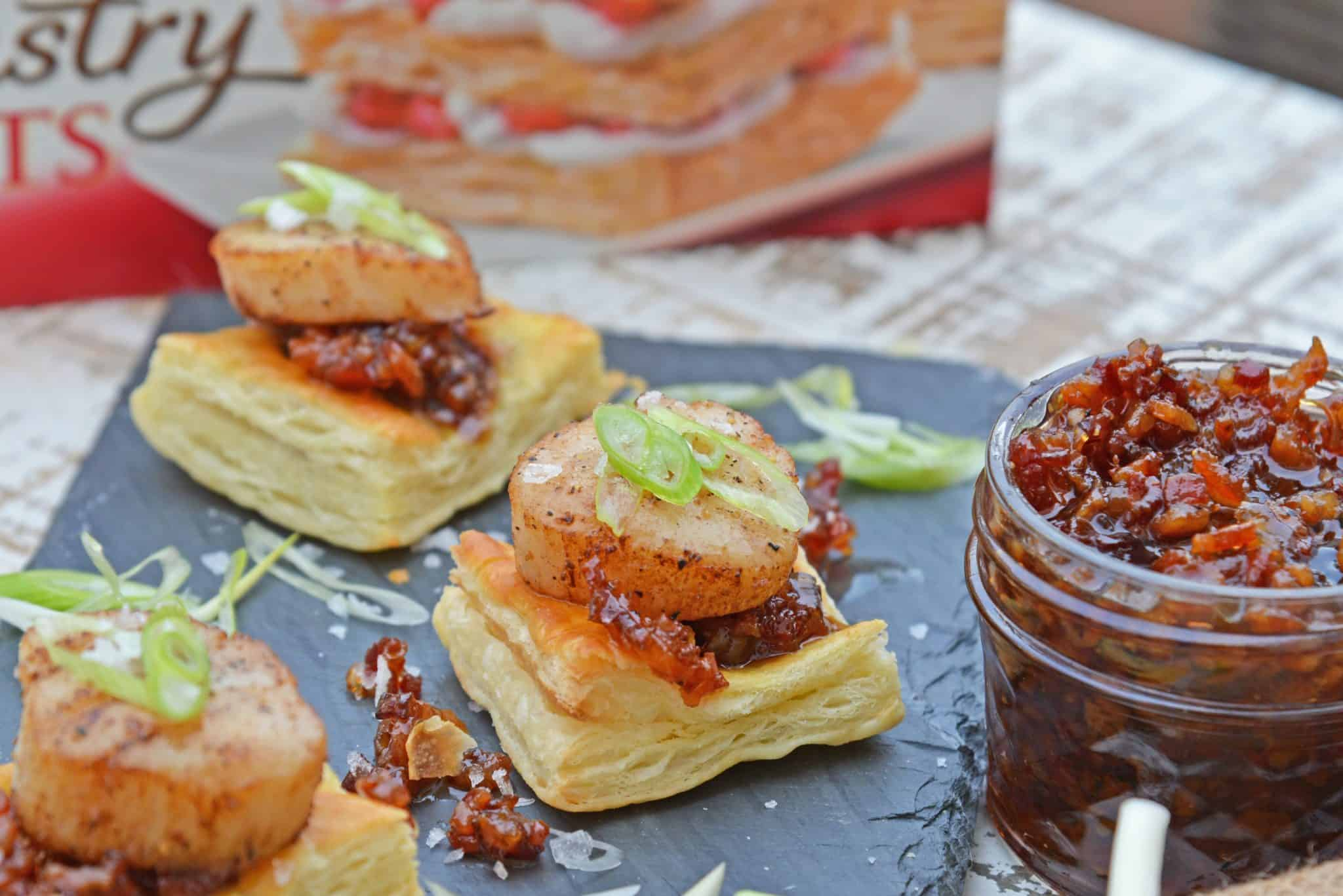 Bacon Jam Scallops are a play on classic bacon wrapped scallops, only using sweet and salty bacon jam with scallions and flaky puff pastry! #scallopappetizers #baconjam www.savoryexperiments.com