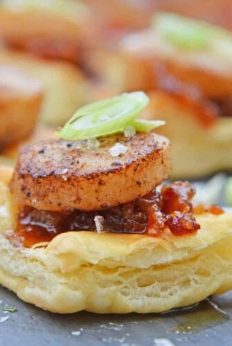 Bacon Jam Scallops are a play on classic bacon wrapped scallops, only using sweet and salty bacon jam with scallions and flaky puff pastry! #puffpastryappetizers #scallopappetizers #baconjam www.savoryexperiments.com