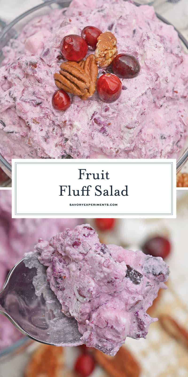Fruit Fluff Salad is a classic side dish for the holidays combining Cherry Fluff, Pineapple Fluff and Cranberry Fluff Salad into one!#fruitfluffsalad #fluffsaladrecipe www.savoryexperiments.com