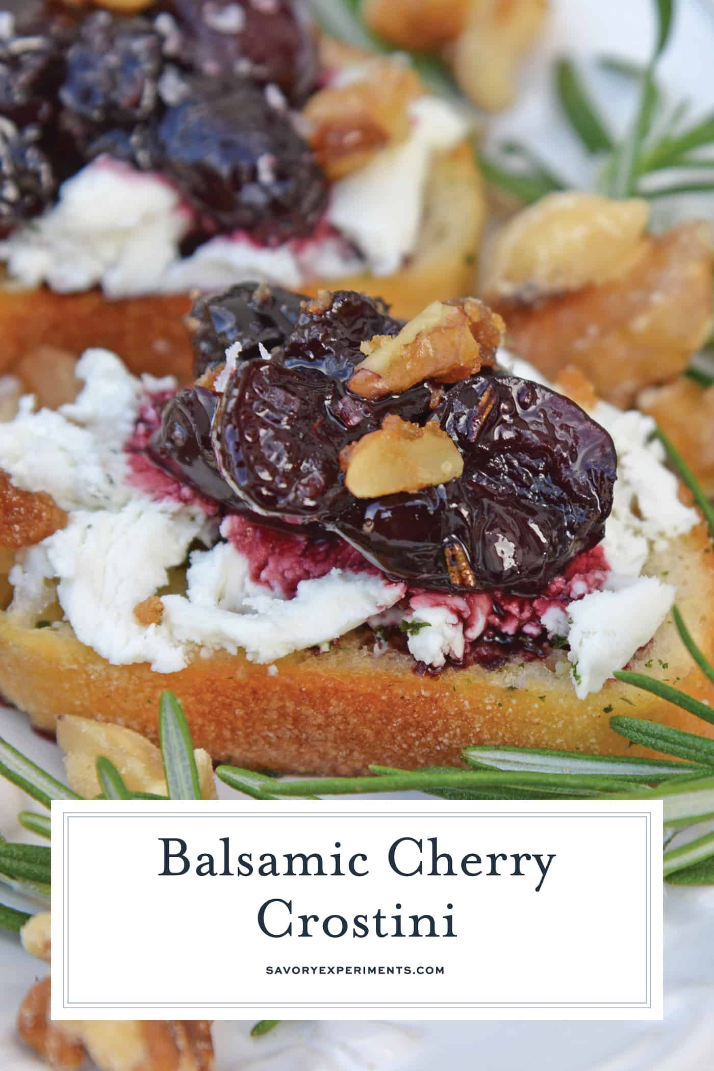 Balsamic Cherry Crostini are an easy appetizer using goat cheese and a tangy cherry balsamic reduction. The perfect holiday appetizer recipe!#crostinirecipes #goatcheeserecipes #easyappetizerrecipes www.savoryexperiments.com