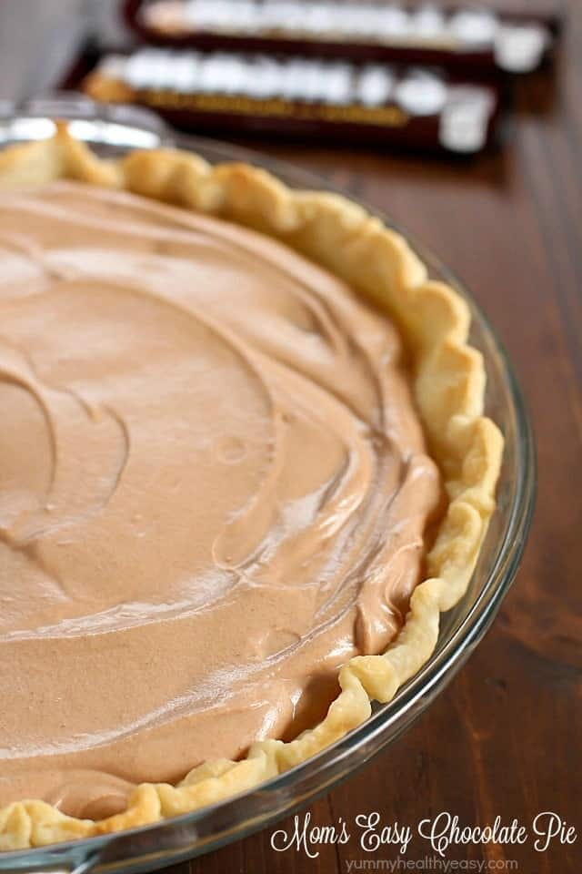 Close up of chocolate pie in a pie dish