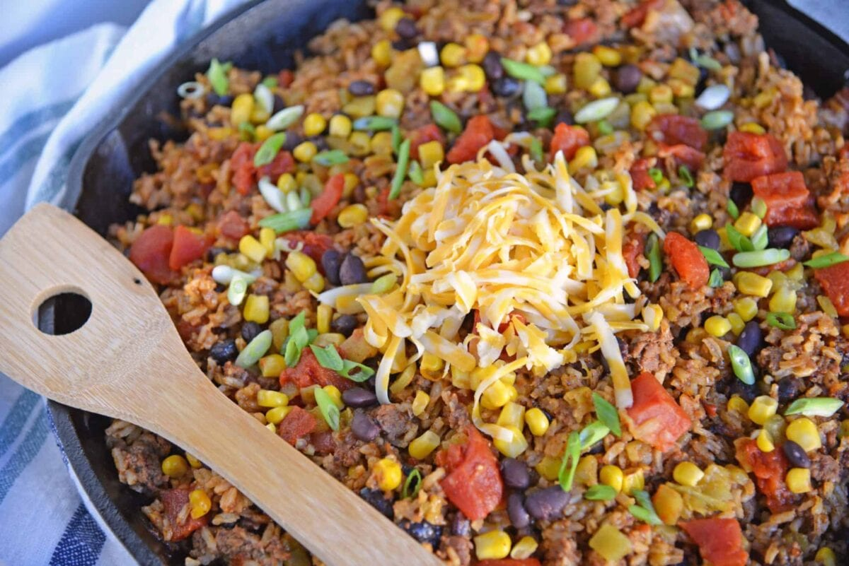 Overhead view of Mexican Beef and Rice Casserole