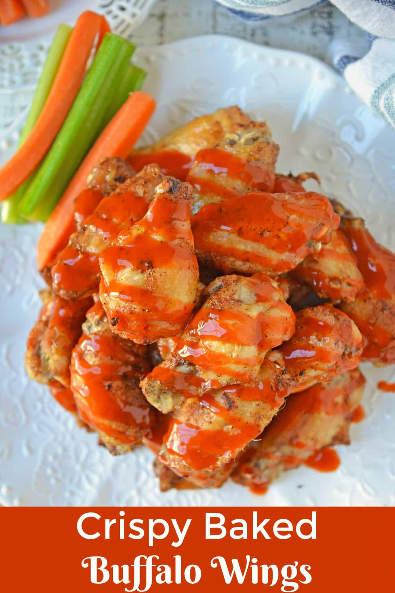 Crispy Baked Buffalo Wings are easier to make than you think. Only 5 ingredients, a simple buffalo sauce and the trick for seriously crispy wings! #bakedbuffalowings www.savoryexperiments.com