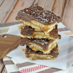 Easy Butter Toffee is a classic toffee on top of crunchy, delicious Ritz crackers. Make this classic holiday treat in just 20 minutes using 5 ingredients! #toffeerecipe #saltinetoffee www.savoryexperiments.com