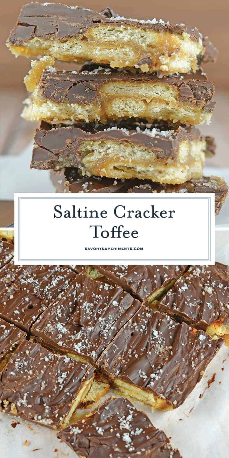 Saltine Cracker Toffee is a classic butter toffee on buttery Ritz crackers and topped with chocolate. Make this classic holiday treat in 20 minutes! #buttertoffeerecipe #saltinecrackertoffee www.savoryexperiments.com