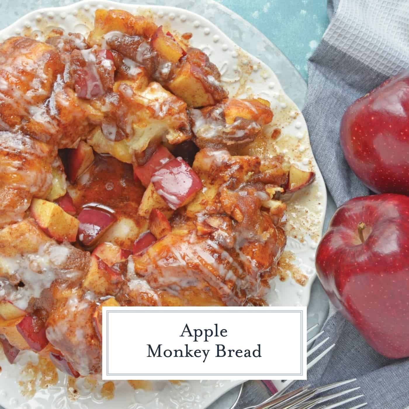 Apple Monkey Bread is an easy monkey bread with canned biscuits and fresh apples. A winning brunch and breakfast recipe for special occasions. #monkeybreadrecipe #easymonkeybread www.savoryexperiments.com