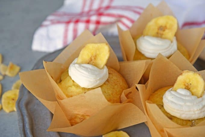 Five Ingredient Banana Cupcakes are a fabulous alternative to making banana bread with overly ripe bananas. This easy cupcake recipe will blow your mind! #easycupcakerecipes #bananacupcakes #bananarecipes www.savoryexperiments.com