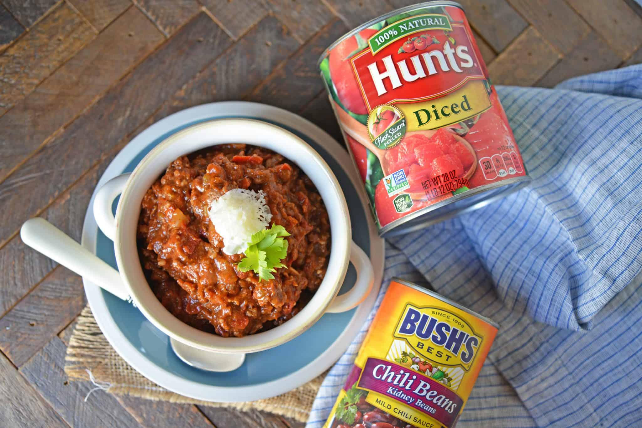 Blue Ribbon Award Winning Chili is, you guessed it, a chili cook-off winning recipe! A robust and rich stew loaded with beef, sausage, bacon and tons of vegetables. The best chili recipe ever! #awardwinningchili #bestchilirecipe www.savoryexperiments.com