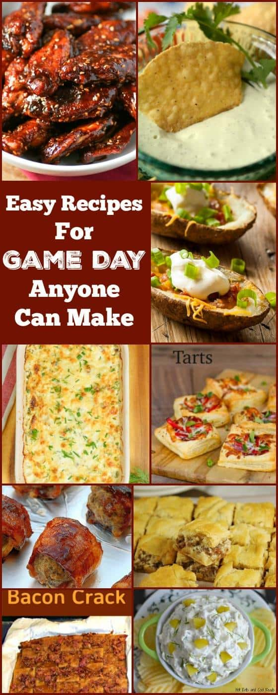 collage of football appetizer foods