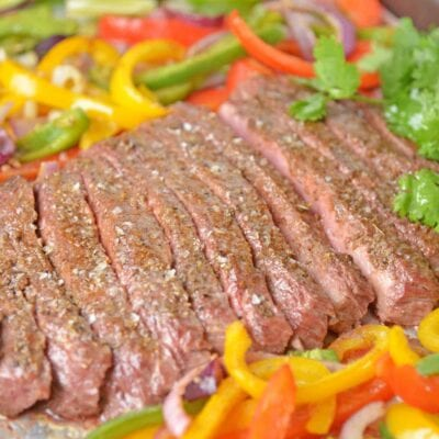 Sheet pan steak fajitas with peppers