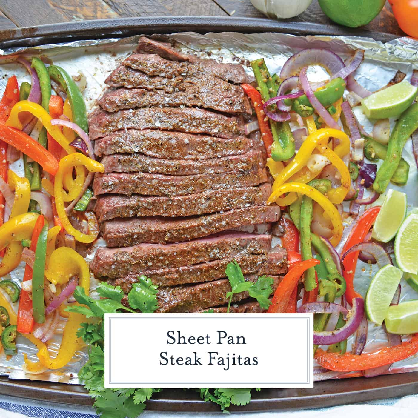 Sheet Pan Steak Fajitas are an easy weeknight meal using tender beef, homemade fajita seasoning, peppers, onions and jalapenos! #sheetpanrecipes #steakfajitas #easydinnerideas www.savoryexperiments.com