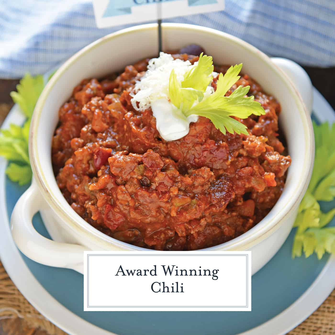 Blue Ribbon Award Winning Chili is a chili cook-off winning recipe! A robust and rich stew loaded with beef, sausage, bacon and tons of vegetables. #awardwinningchili #chilirecipe www.savoryexperiments.com