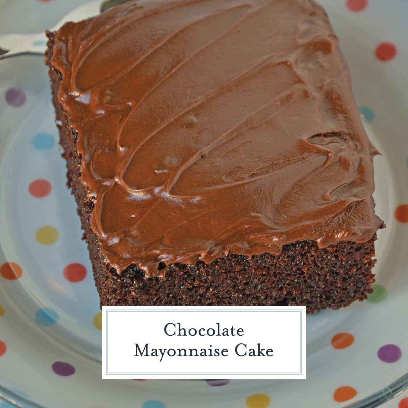 Chocolate Mayonnaise Cake is a moist chocolate cake in a 9x13 pan with chocolate buttercream frosting. One of my favorite recipes from Grandma! #chocolatemayonnaisecake #chocolatecake #sheetcakerecipes #chocolatecakefromscratch www.savoryexperiments.com