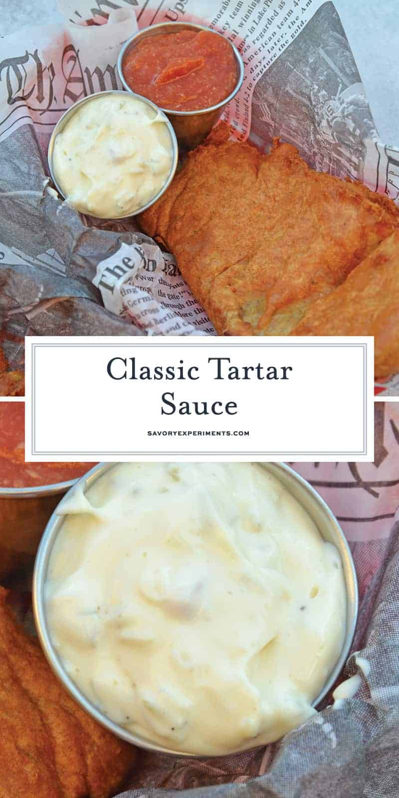With just 6 main ingredients, this homemade tartar sauce recipe can be made in just minutes. You'll never buy tartar sauce at the store again! #tartarsauce #tartarsaucerecipe #homemadetartarsauce www.savoryexperiments.com