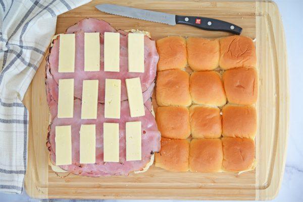white american cheese on ham sliders