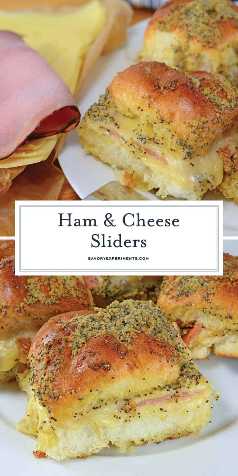 These Ham and Cheese sliders are made with delicious honey ham and Swiss cheese on Hawaiian Rolls. So good there'll never be any leftovers! #hamandcheesesliders #hamsliders #hawaiianrollsliders www.savoryexperiments.com