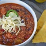 Instant Pot Chili is a gold star chili. A simple chili recipe using jalapeño, chili seasoning, beans and beef ready in just 20 minutes! #instantpotrecipes #intantpotchili #easychilirecipe www.savoryexperiments.com