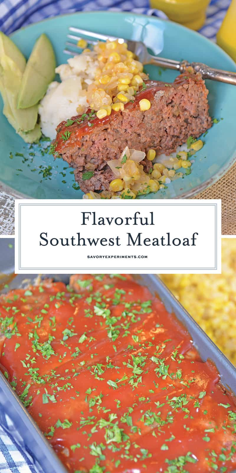 Southwest Meatloaf is a classic meatloaf recipe with a southwestern spin. Crushed tortilla chips and bottled salsa give this easy meatloaf a zesty edge. #meatloafrecipe www.savoryexperiments.com