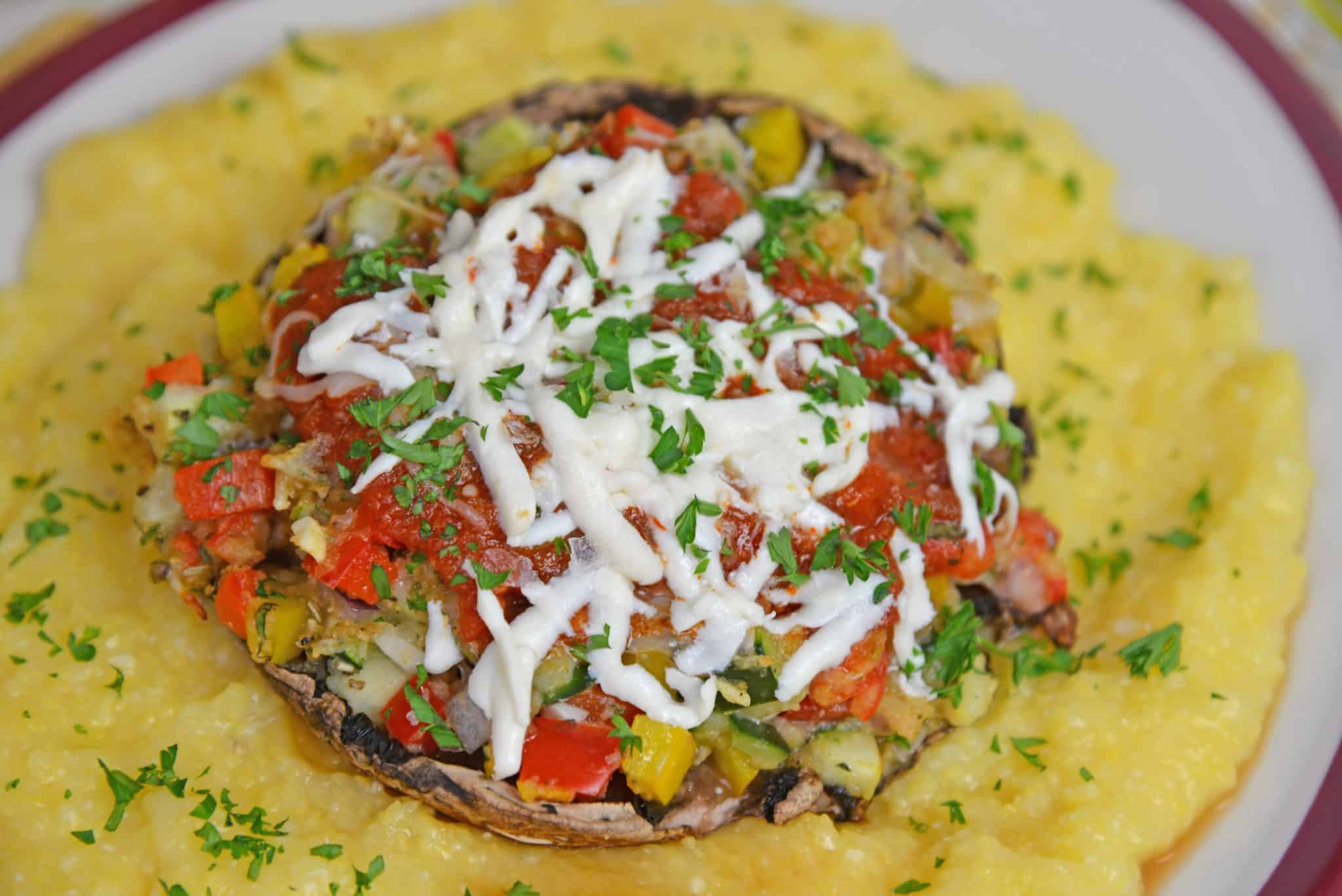 One of the best easy vegetarian recipes are Stuffed Portabella Mushrooms. A great vegetarian dinner idea perfect for meatless Monday! #stuffedmushrooms #vegetarianrecipes www.savoryexperiments.com