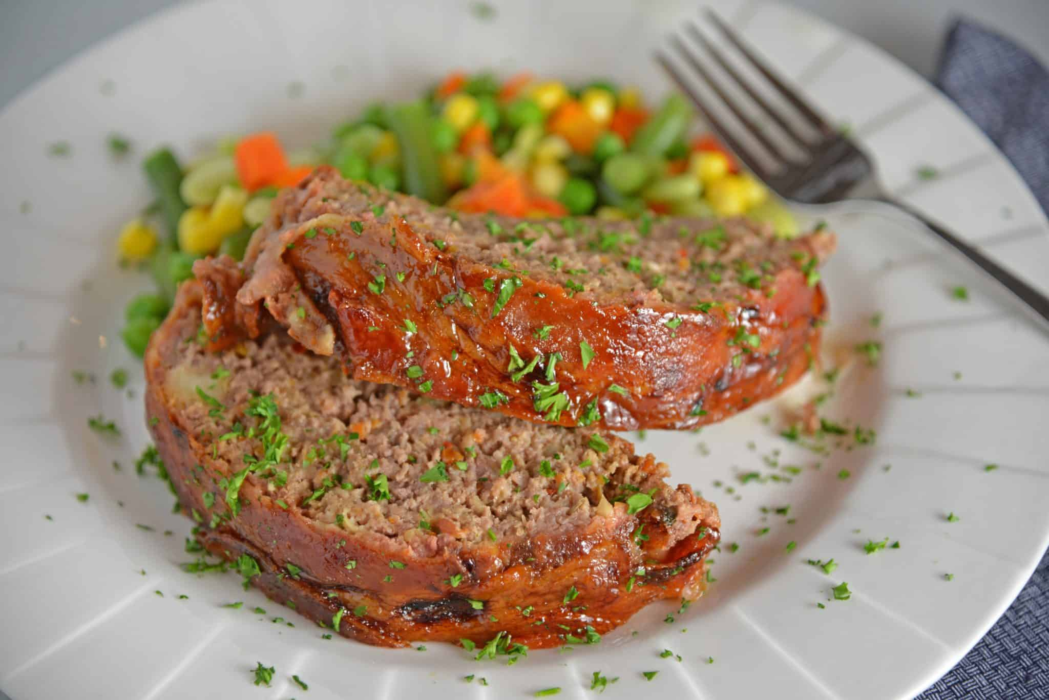 Guinness and Cheddar Meatloaf on a plate