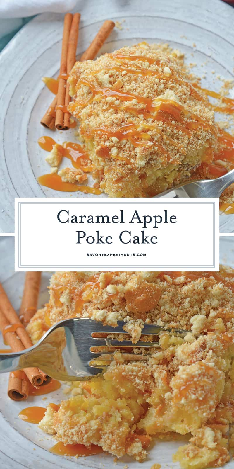 This Caramel Apple Poke Cake is one of the best recipes using boxed cake mix! With tons of apples, and cinnamon, this from scratch apple cake will become an instant family favorite! #pokecakerecipes #recipesusingboxedcakemix #applecake #easypokecakerecipes #savoryexperiments www.savoryexperiments.com