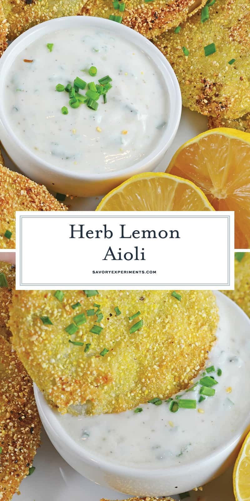 Herb Lemon Aioli is a delicious condiment perfect for sandwiches, as a dipping sauce and even as a marinade! #aiolirecipe #dippingsauce www.savoryexperiments.com