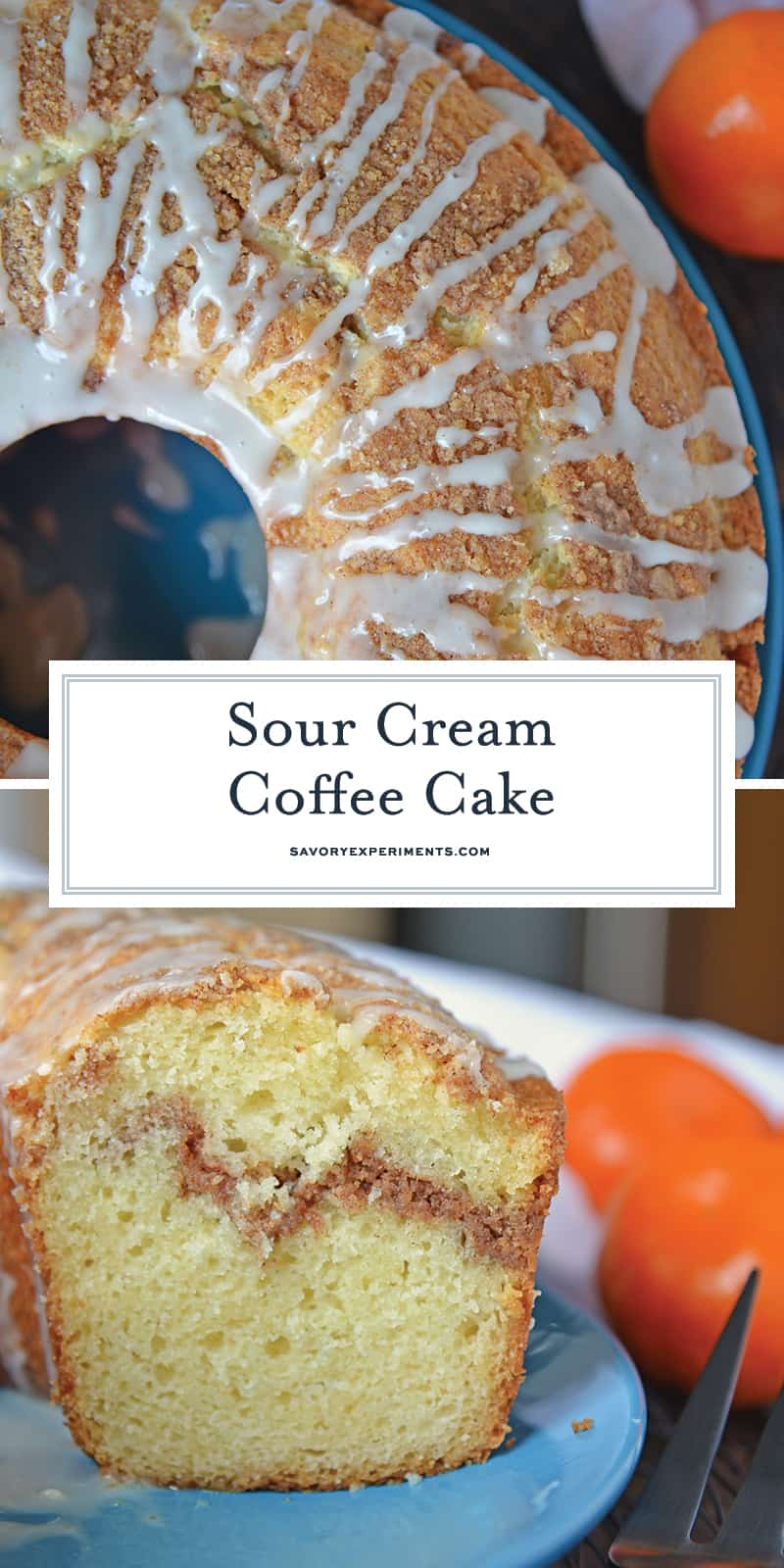 Sour Cream Coffee Cake is an easy coffee cake recipe with a streusel ribbon and crumb topping. Super moist without being overly sweet. Perfect for brunch or dessert. #sourcreamcoffeecake #easycoffeecakerecipe www.savoryexperiments.com