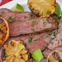 close up of citrus steak rub with charred lemons