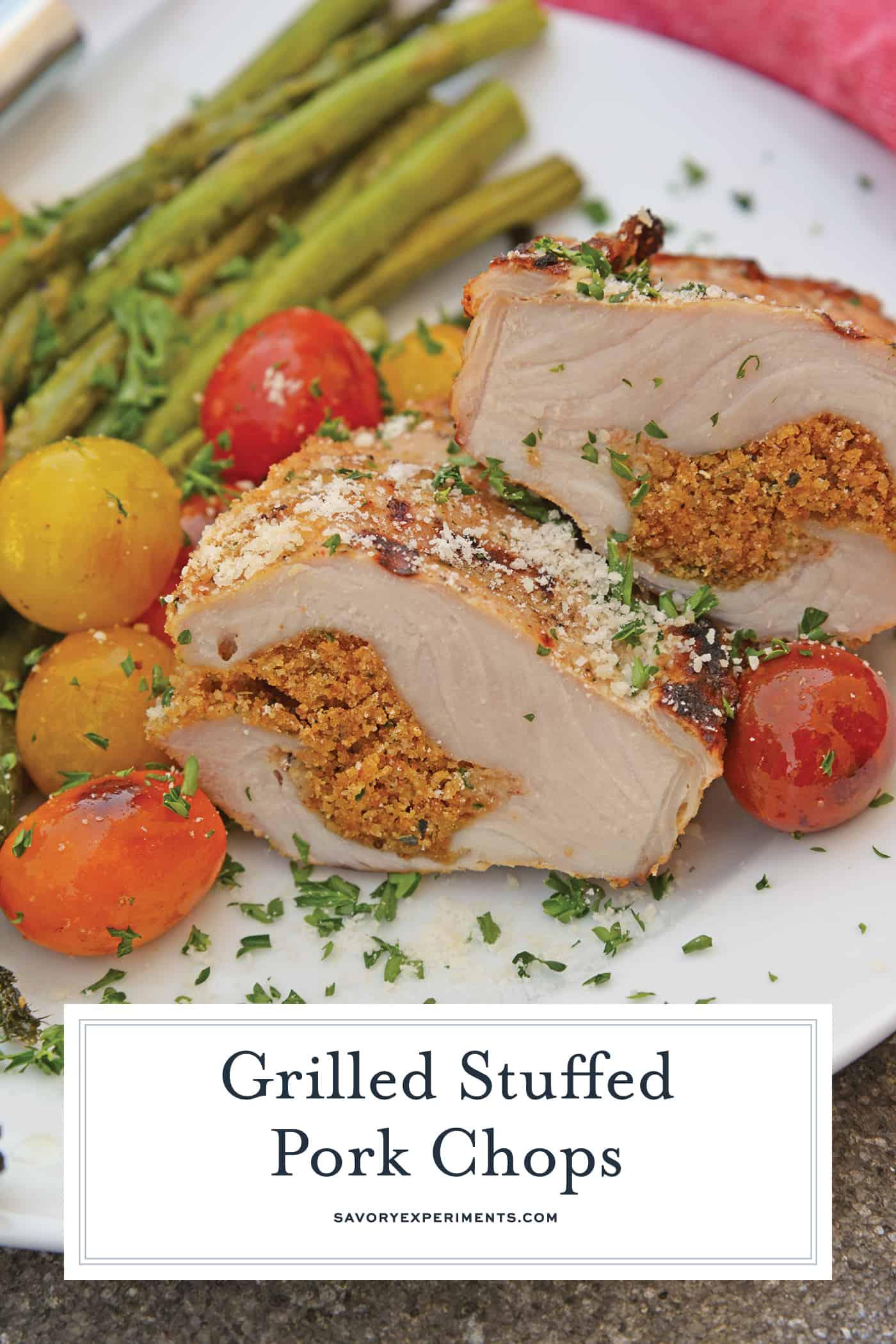 Side angle of stuffed pork chops