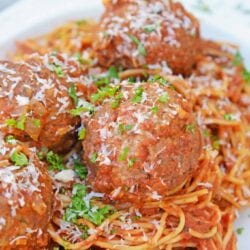 Instant Pot Spaghetti and Meatballs is perfect for nights when you need dinner fast. You won't need to know how to make spaghetti and meatballs any other way! #howtomakespaghettiandmeatballs #instantpotrecipes #spaghettiandmeatballs  www.savoryexperiments.com