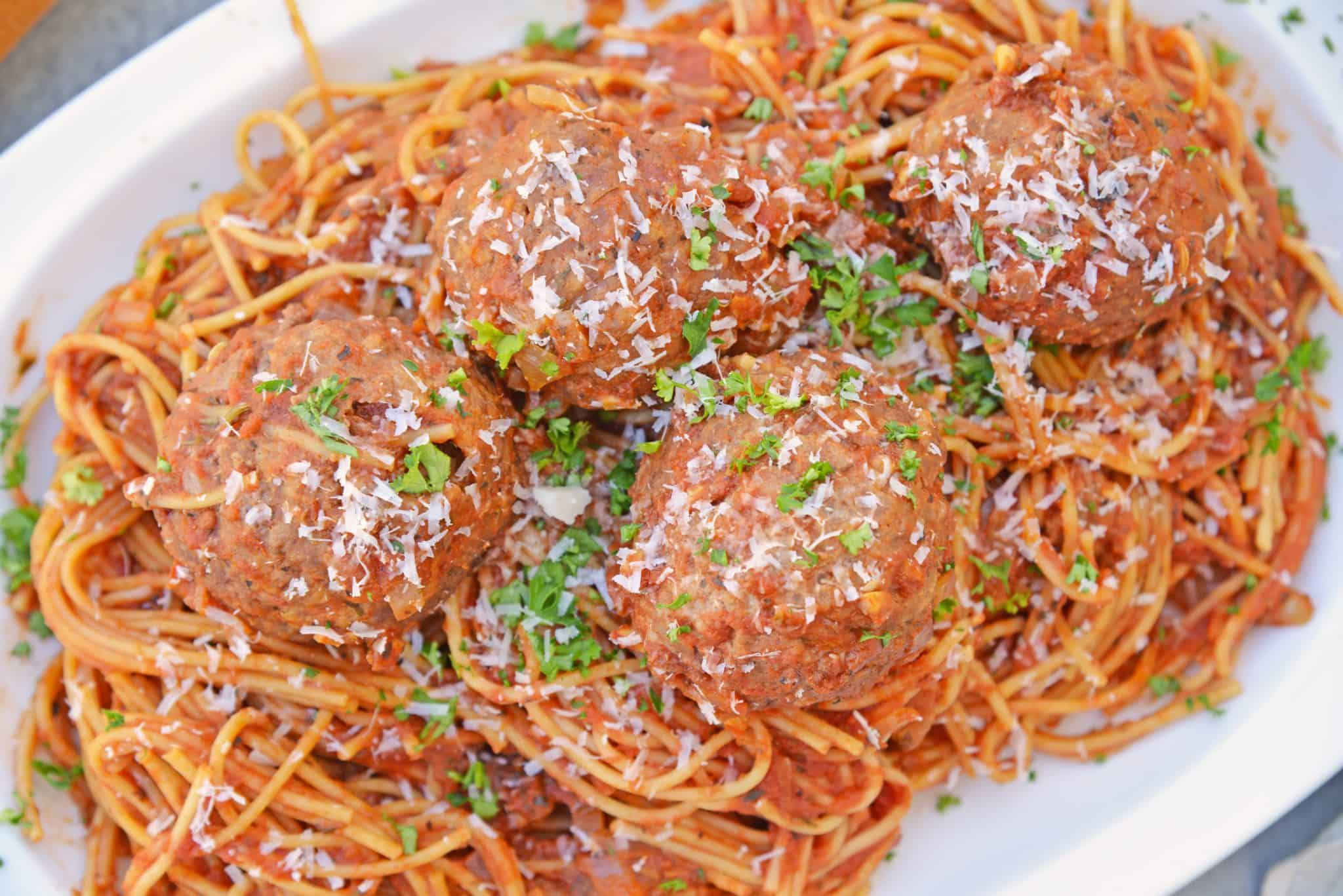 Spaghetti and meatballs in a white bowl - quick and easy meals