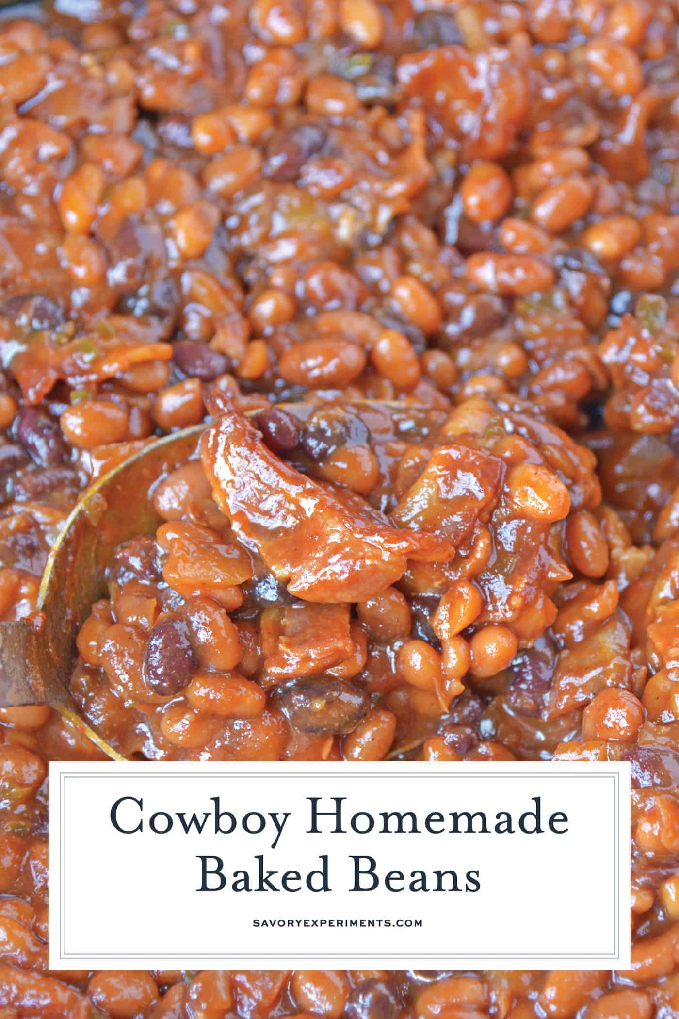 Cowboy Homemade Baked Beans are smoky, spicy and sweet. The perfect side dish recipe for BBQ, potlucks and parties. An easy baked bean recipe with loads of flavor! #homemadebakedbeans #bakedbeans www.savoryexperiments.com