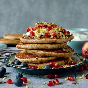 Baklava pancakes on a blue plate