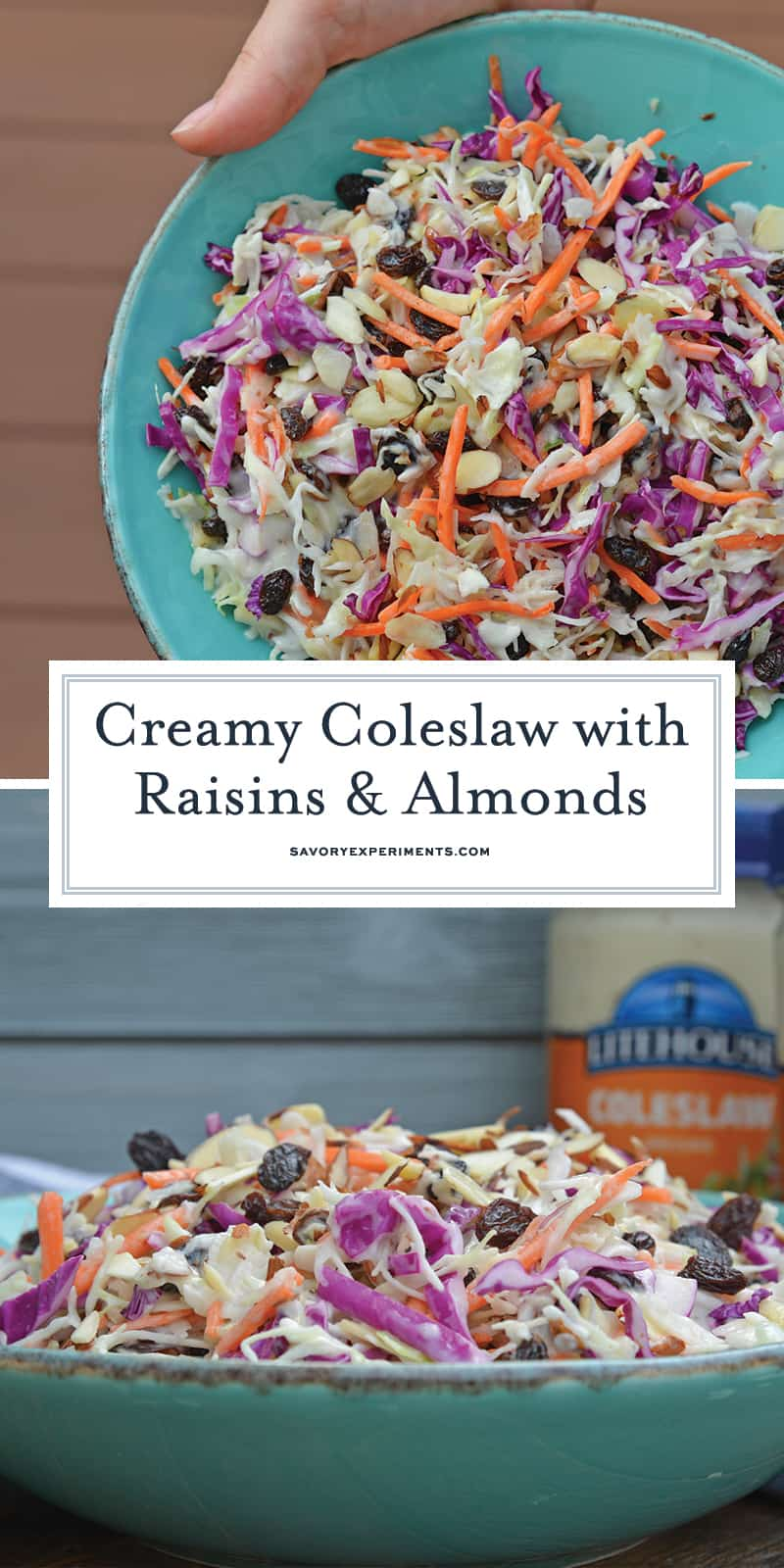 Creamy Coleslaw with almonds and raisins is an easy coleslaw recipe that is mix and serve. Coleslaw dressing, almonds, raisins and crisp cabbage mix are the perfect BBQ dish. #creamycoleslaw #coleslawrecipe www.savoryexperiments.com