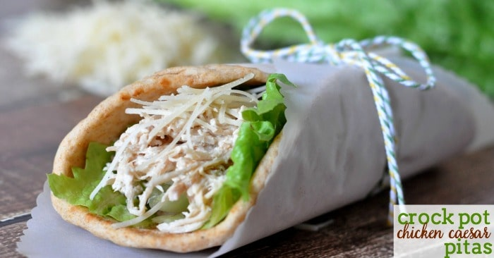 Chicken caesar pita tied with a string
