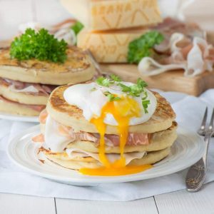 Pancakes with eggs and prosciutto