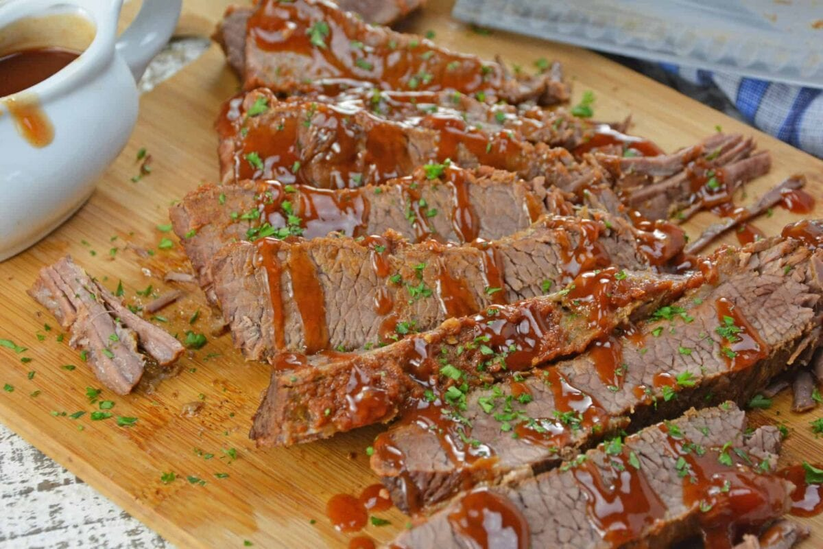 BBQ brisket slices on a cutting board - quick and easy meals