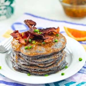 Jalapeno Cornmeal Pancakes topped with bacon