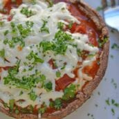 This Quick Portabella Pizza is the ultimate low carb pizza and easiest stuffed portabella recipe with only 4 ingredients and ready in 20 minutes! #portabellamushroomrecipes #stuffedportabellamushrooms #portabellapizza #lowcarbpizza www.savoryexperiments.com