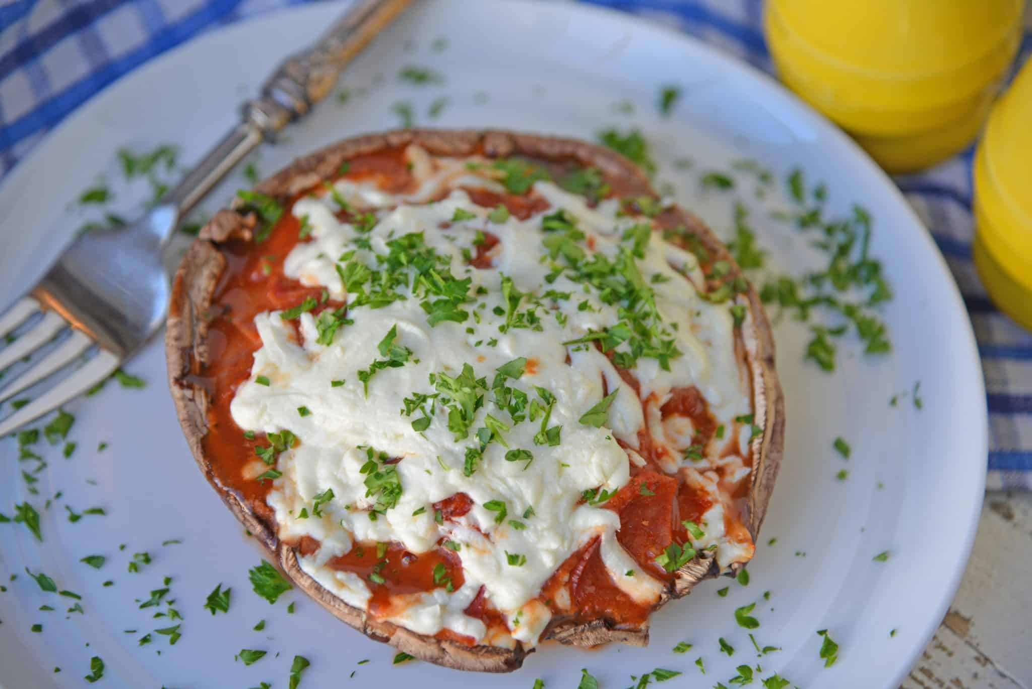 Portabella pizza on a white plate - quick and easy meals