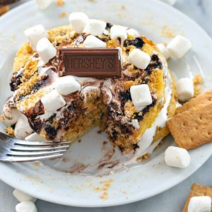 S'mores pancakes with a bite taken out
