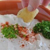 Chip being dipped into French Onion Dip