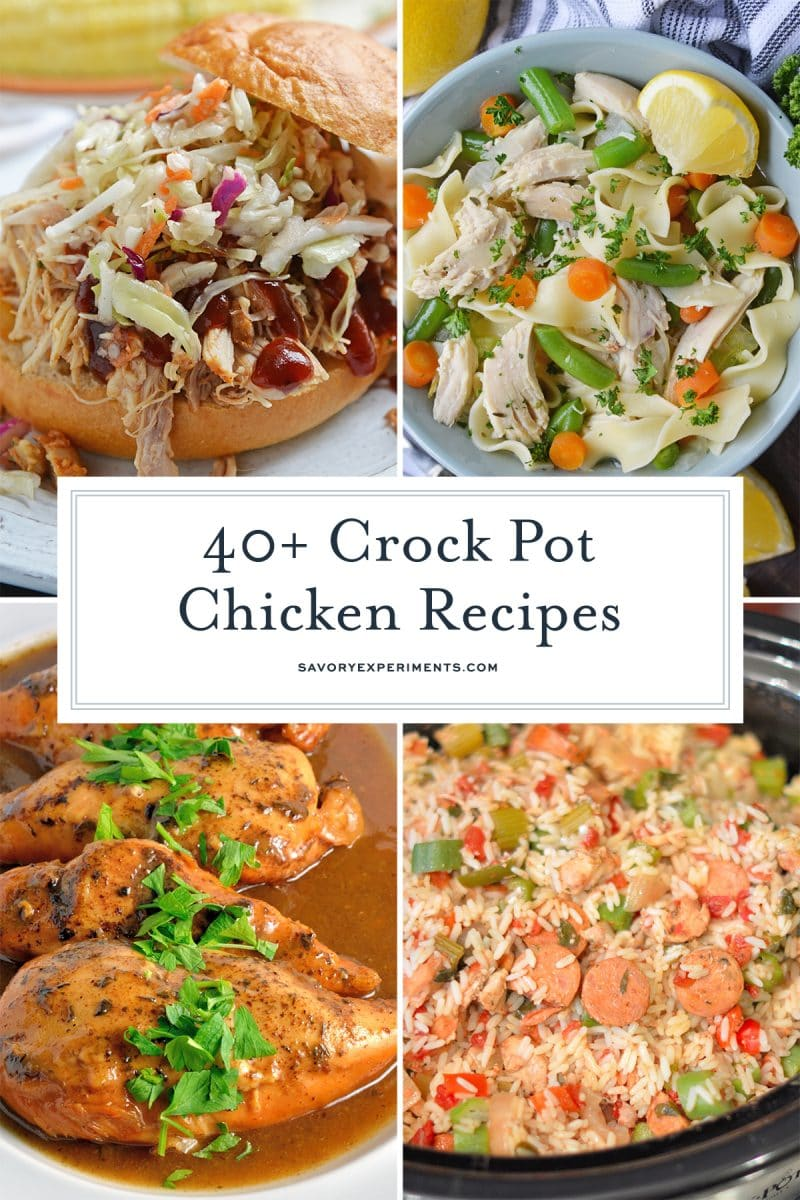 collage of crock pot chicken recipes