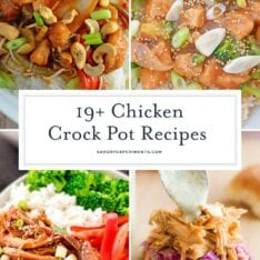 These 19 Easy Crock Pot Chicken Recipes are perfect for your quick dinner needs! Recipes ranging from healthy to hearty, from Italian to Mexican, and everything in between, you will find what you're looking for here! Just throw it all in the slow cooker for an easy weeknight meal. #easycrockpotchickenrecipes #slowcookerchickenrecipes #easychickencrockpotrecipes www.savoryexperiments.com