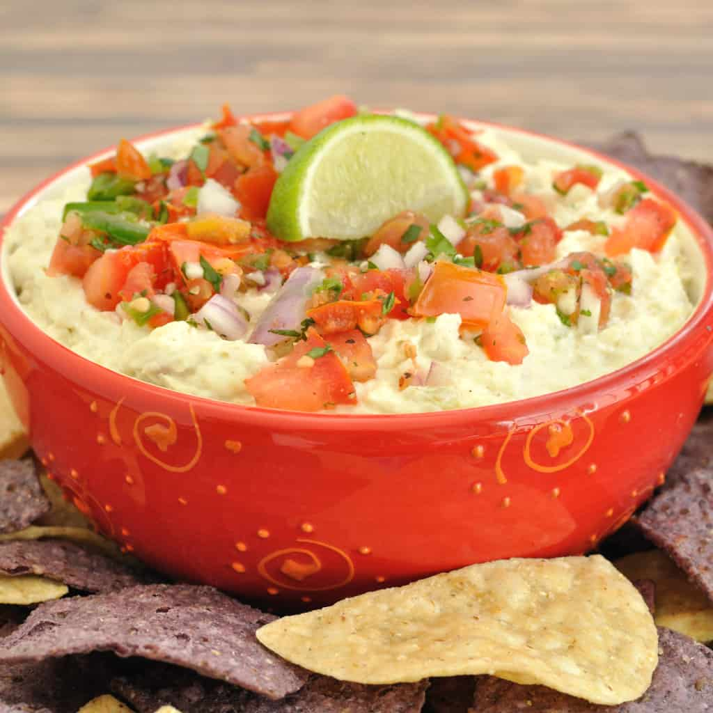 Margarita chicken dip in a red bowl