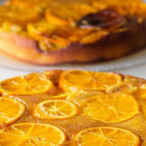 Close up of upside down orange cake