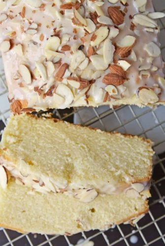 This Almond Pound Cake recipe is easy, moist and as dense as a pound cake should be. Topped with an almond pound cake glaze, it's the perfect dessert! #almondpoundcake #poundcakerecipe www.savoryexperiments.com