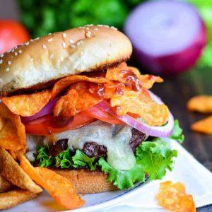 BBQ crunch burger on a white plate